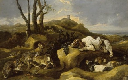 Joannes_Fijt_-_Spaniels_Stalking_Rabbits_in_the_Dunes_-_WGA08353
